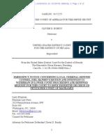 09-26-2016 DOC 3 9th Cir. CLIVEN BUNDY v USDC NV - Klayan PHV Appeal - Emergency Notice