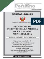 Programa de Incentivos a la Mejora de la Gestión Municipal 2016