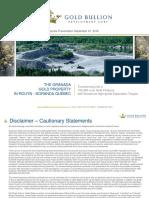 Gold Bullion Development Corp.  Corporate Presentation September 27, 2016