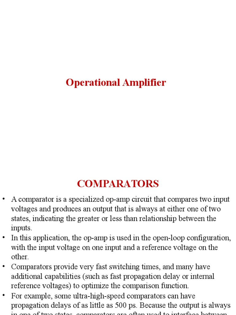 Basic Op Amp Circuits Operational Amplifier Figure 2 Voltage Divider Setting Comparator Input