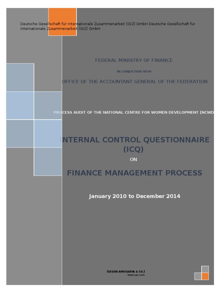 Icq Questionnaire | Audit | Expense