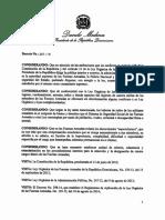 Decreto 261-16 que instruye a los Comandantes Generales de las Fuerzas Armadas someter, ante el Ministro de Defensa, candidatos a ostentar posiciones de directores y subdirectores en sus respectivas dependencias