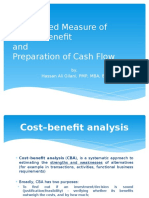 Discounted measure of cost and benefit and preparation of cash flow