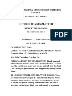 Nativity of the Holy Virgin Church - Newsletter - October, 2016