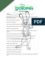 Zootopia Worksheet Printable