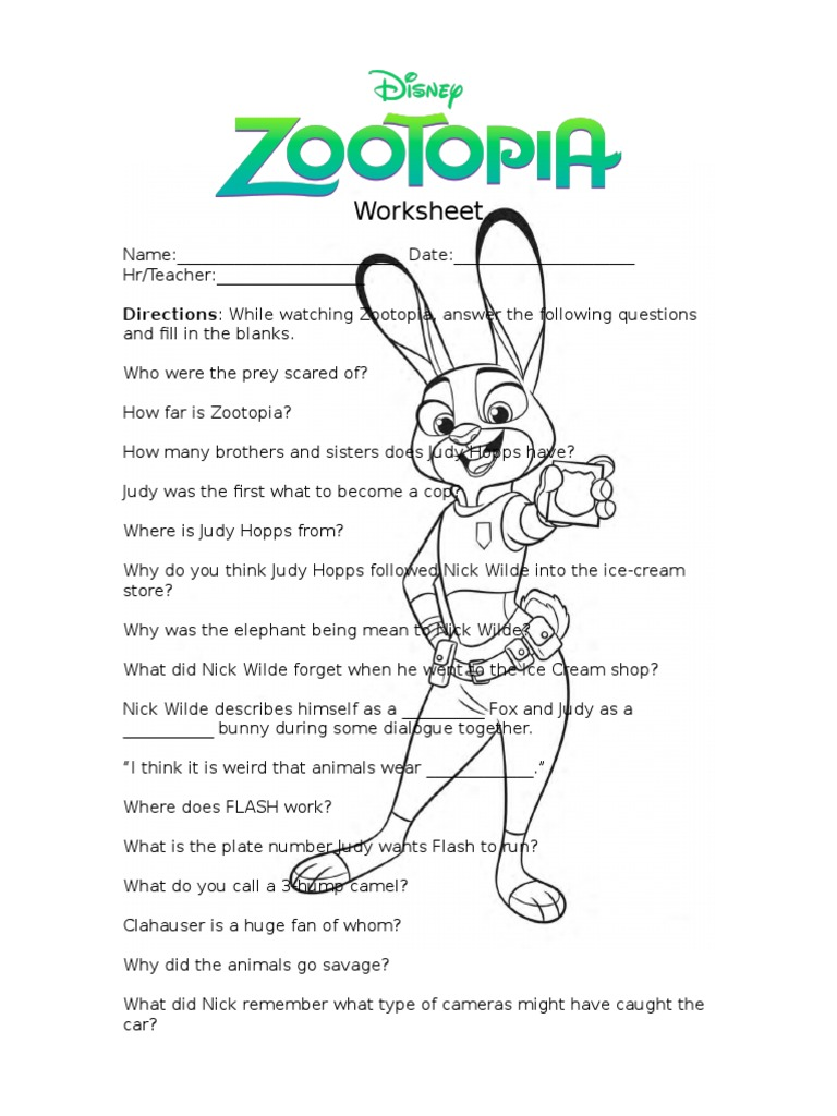 zootopia worksheet printable. Black Bedroom Furniture Sets. Home Design Ideas