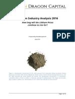 Lithium Industry Analysis 2016