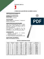 Ficha Tecnica Conductores de Aluminio