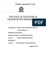 Org Behaviour _The Role of Discipline in Organisation Management