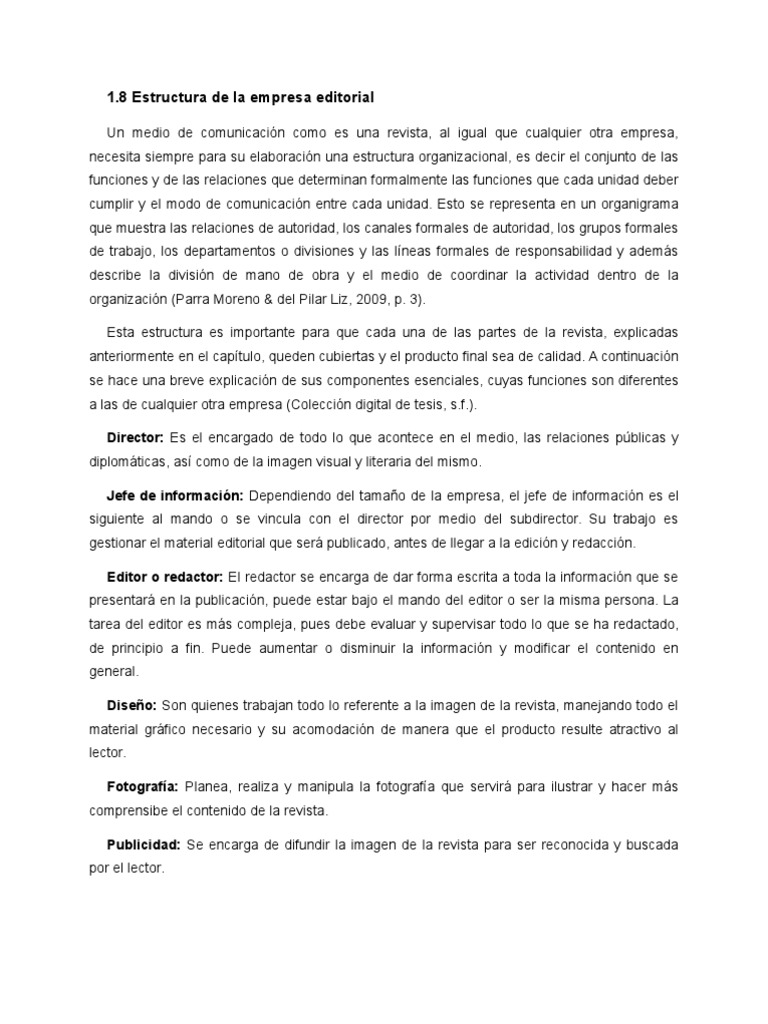 Estructura De La Empresa Editorial Publicación