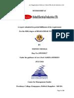 An Organizational Study in United Electrical Industries, Kollam, Kerala