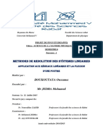 METHODES DE RESOLUTION DES SYSTEMES LINEAIRES et APPLICATION