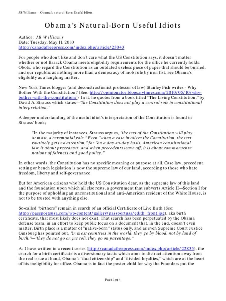 Jb williams obamas natural born useful idiots barack obama jb williams obamas natural born useful idiots barack obama citizenship conspiracy theories justice aiddatafo Images