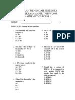 Peperiksaan Akhir Tahun 2003 Paper 1 (f1 Math) II