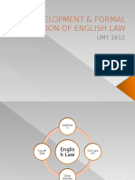 Development & Formal Reception of English Law