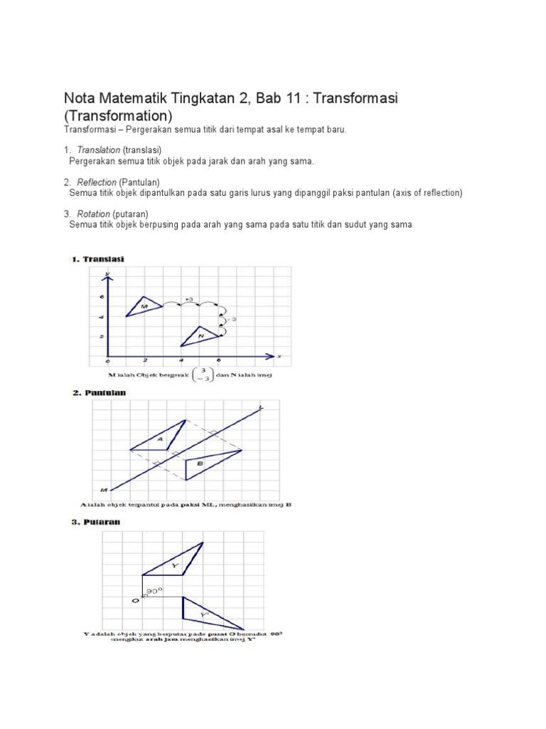 Nota Matematik Tingkatan 2 Pemjelmaan