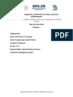 Tipos de Reacciones, práctica de laboratorio