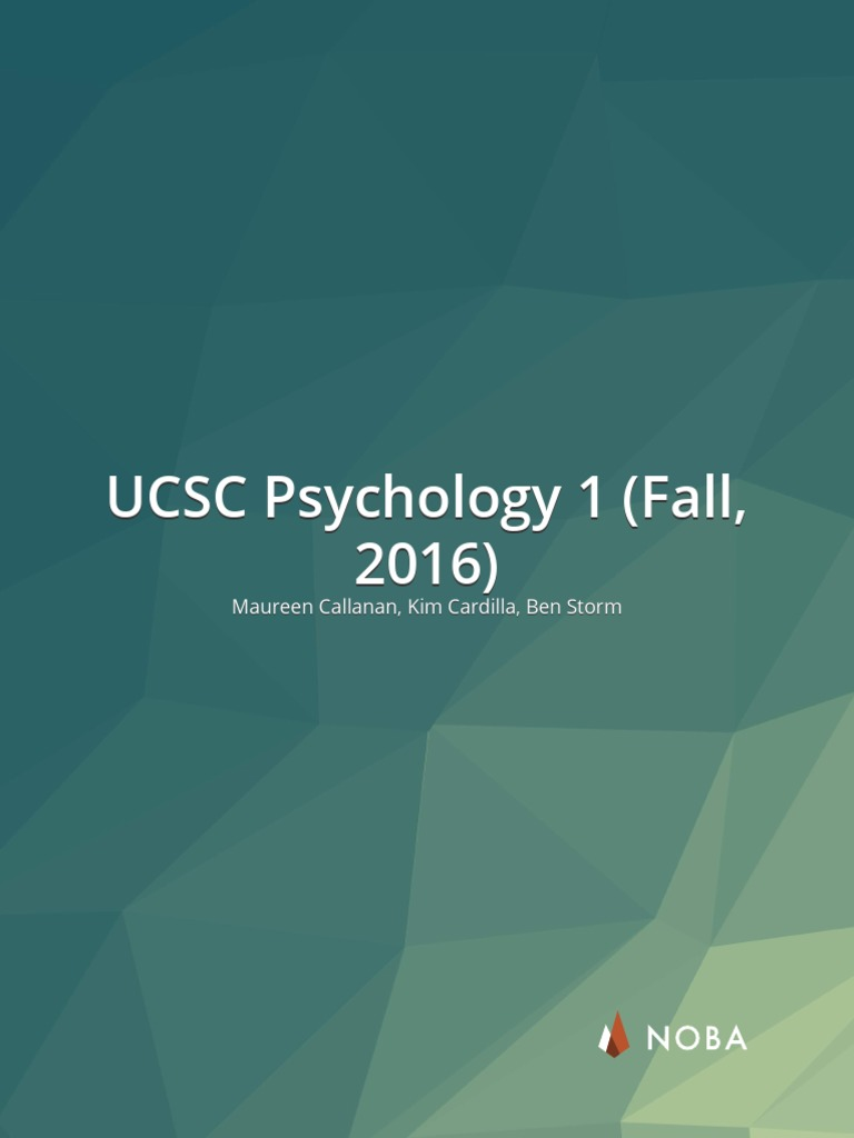 UCSC Psychology 1   Psychology & Cognitive Science   Experiment