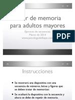 Taller de Memoria Para Adultos Mayores Ejercicio de Secuencias