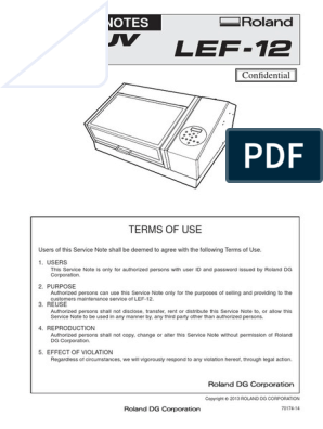 Roland LEF-12 Service Manual | Manufactured Goods | Mechanical