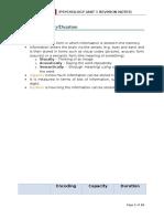 Psychology Revision Notes Unit 1