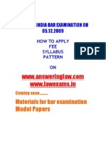 All India Bar Examination Syllabus Pattern Materials Model Papers