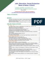 Health, Education, Social Protection News & Notes 12/2010