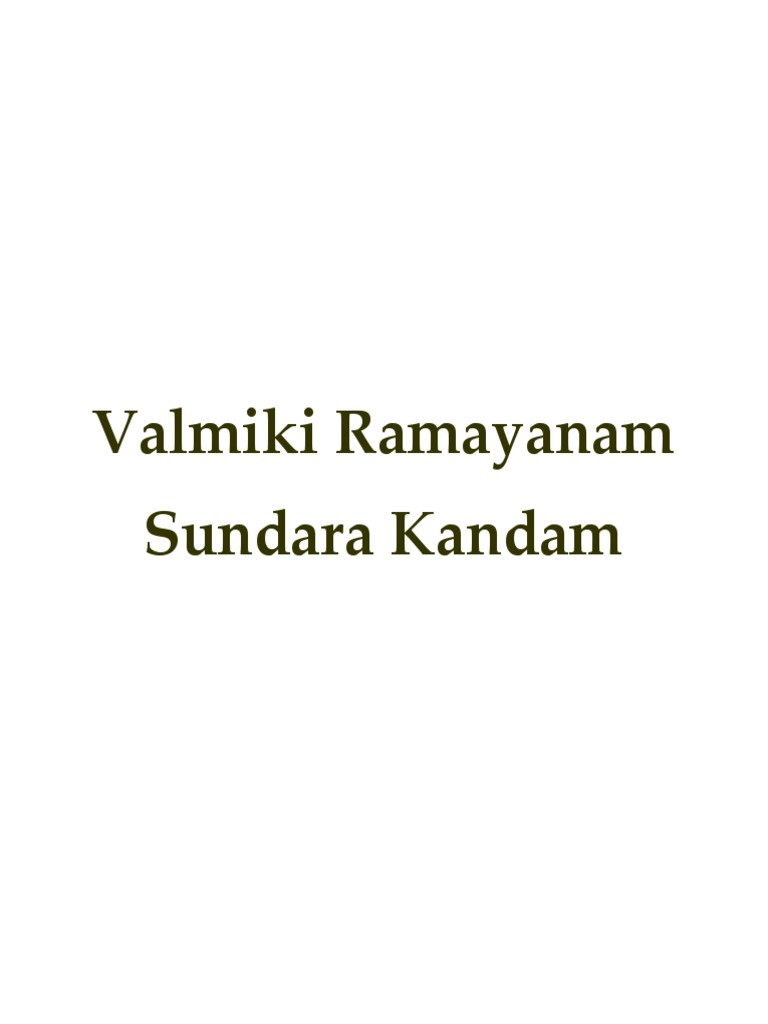 Valmiki Ramayanam - Sundara Kandam pdf   Rama   Ramayana