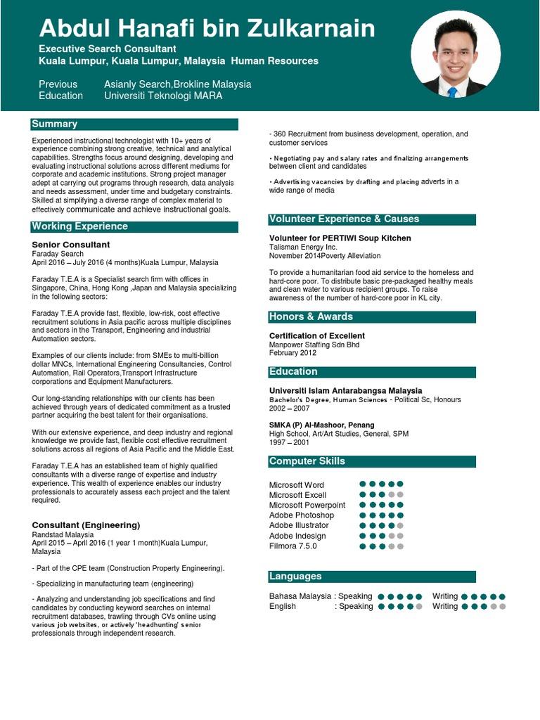 Resume Terkini 2016 2017 Consultant