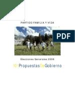 Partido Familia y Vida - 101 Propuestas de Gobierno