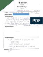 evidence 3 - lesson critique form
