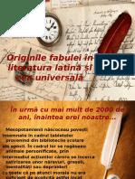 Originile Fabulei În Literatura Latină Și Cea Universală