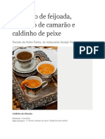 Caldinhos, Feijão, Camarão e Peixe