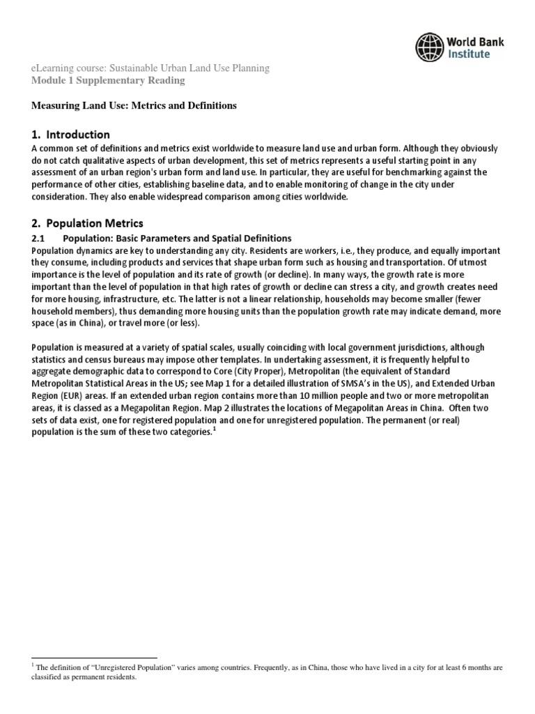 m1_reading_measuring land use metrics and indicators | urban sprawl