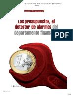 Los Presupuestos detector de alarmas del Dpto Financiero