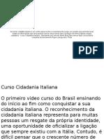 Curso Cidadania Italiana