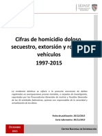 Cifras de homicidio doloso, secuestro, extorsión y robo de vehículos 1997-2015 - SEGOB - SESNSP