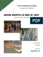 memoria discritiva Saída de Campo de Geologia Estarreja da  Raquel
