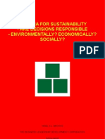Criteria For Sustainability - Are Decisions Responsible - Environmentally? Economically? Socially?