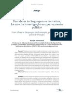 Das ideias às linguagens e conceitos, formas de investigação em pensamento político