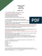 Fall 2001 Exam 1 With Key