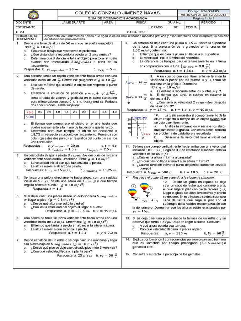 Guia De Caida Libre Physical Sciences Science