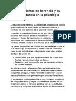 Mecanismos de Herencia y Su Importancia en La Psicologia