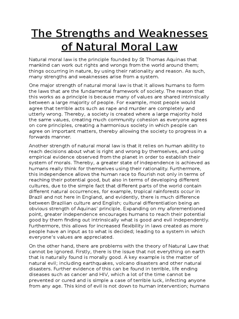 Strengths and weaknesses of natural law essay