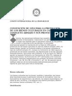 Convencion de 1954 Para Proteccion de Los Bienes Culturales en Caso de Conflicto Armado