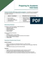 Preparing for Academic Interviews Handout