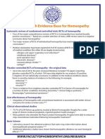 2 Page Evidence Summary for Homeopathy
