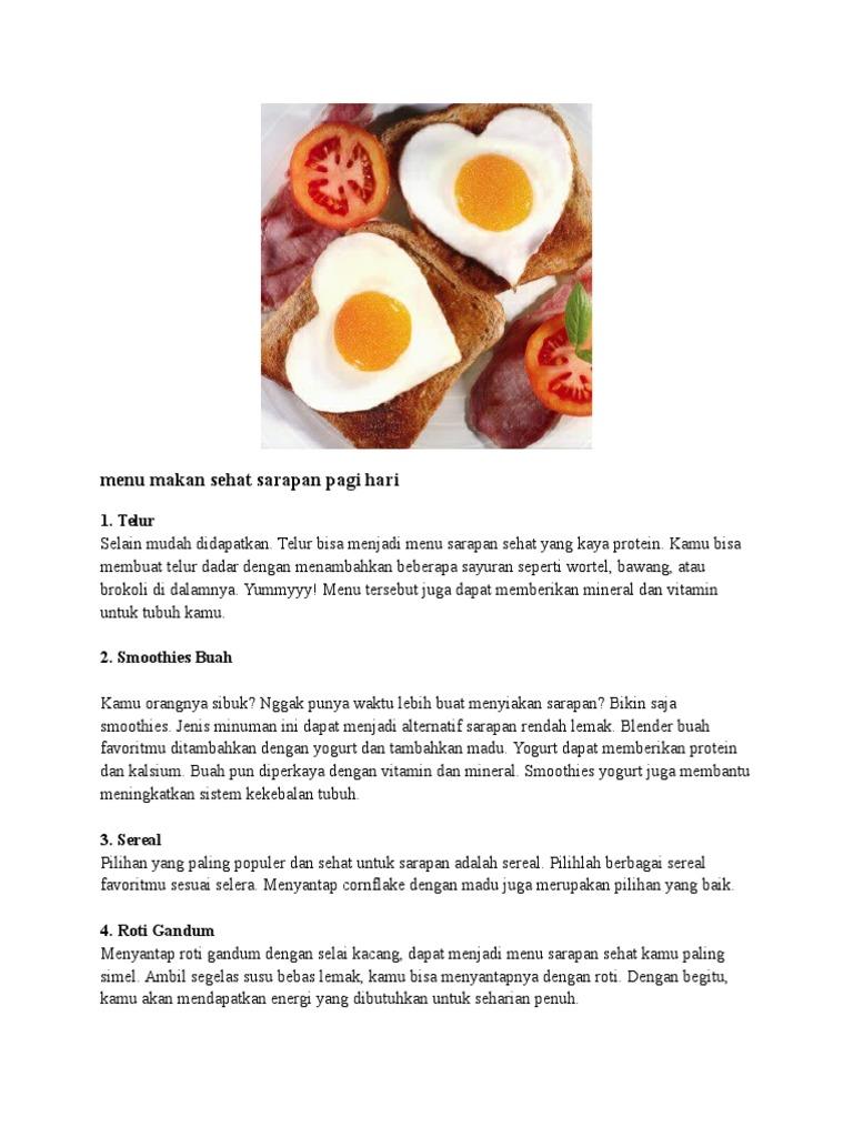 Menu Makan Sehat Sarapan Pagi Hari