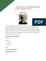 Las 4 Funciones de Un Emprendedor Según Henry Fayol