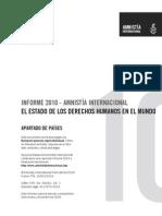 Informe Amnistía Internacional. Estado de los Derechos Humanos en el Mundo. 2010